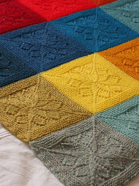 Beautiful knit afghan of colorful squares