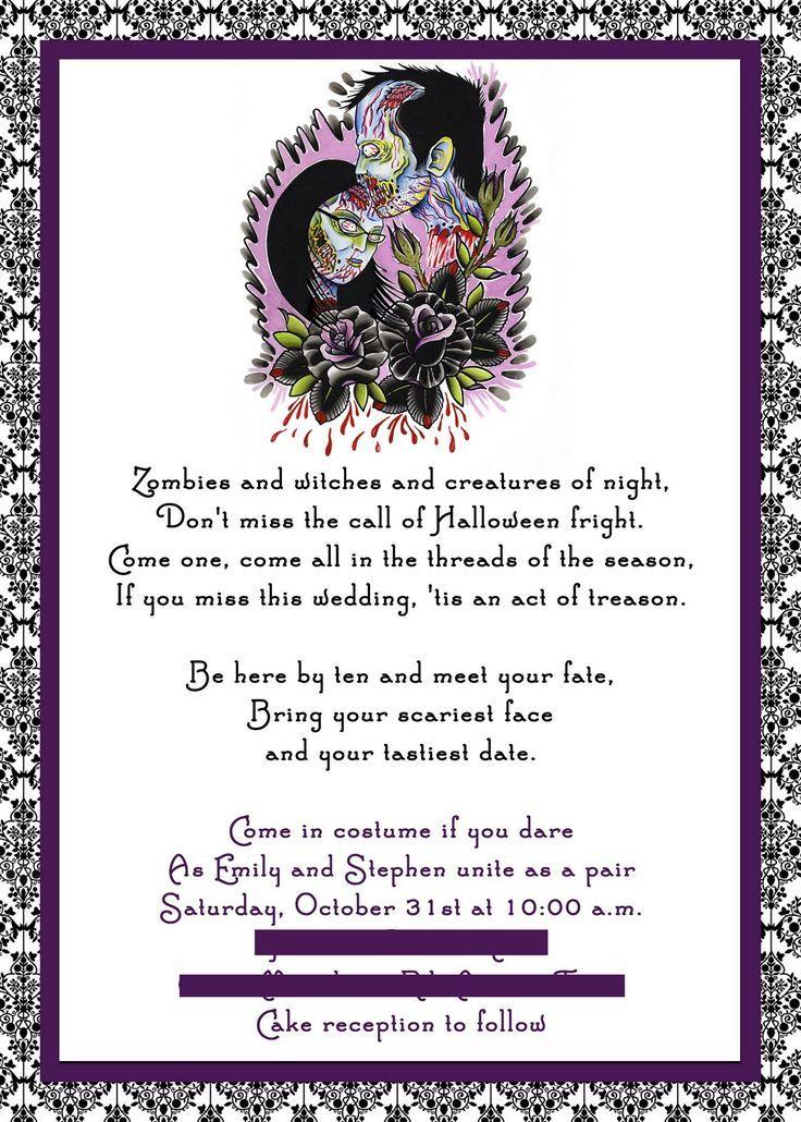 Halloween Wedding Invitation Wording Halloween Wedding Invitations Halloween Themed Wedding Halloween Wedding