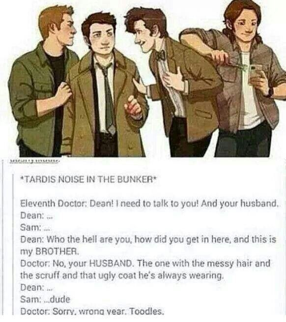 "This would probably happen and then when he left they would just kind of stare for a moment and dean might say ""My husband?"" As he looks at Cas and Cas might blush."