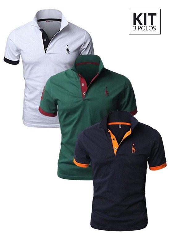 Kit 3 Camisas Polo Giraffe - Branco Verde Azul Escuro - Compre Aqui | Use Giraffe