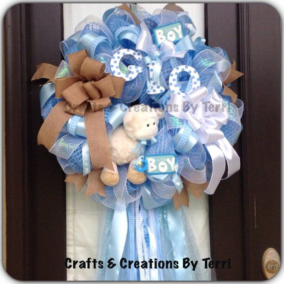 Baby BOY Wreath - - Deco Mesh Wreath -