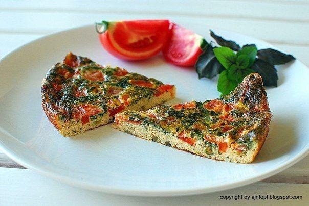 Омлет (фритата) с базиликом и помидорами | Кулинарные Рецепты