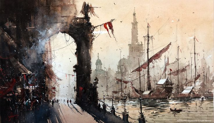 Waterfront at Dawn , Judd Mercer, Watercolor. From the illustrated novel, All That Will Burn