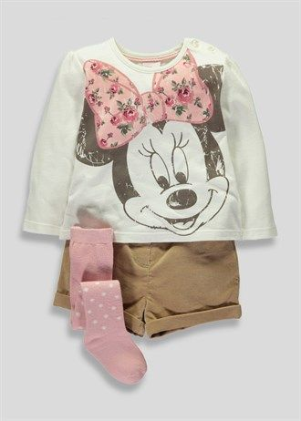 Girls Disney Minnie Mouse T-Shirt Short & Tights Set (3mths-5yrs)