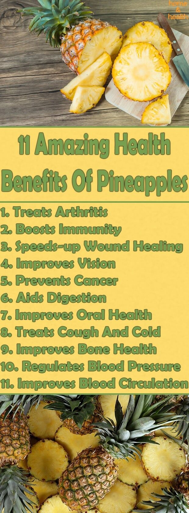 Pineapples have several health benefits due to their wealth of nutrients. They contain vitamins, and minerals, including potassium, copper, calcium, magnesium, vitamin C, beta-carotene, thiamin, vitamin B6, and folate.