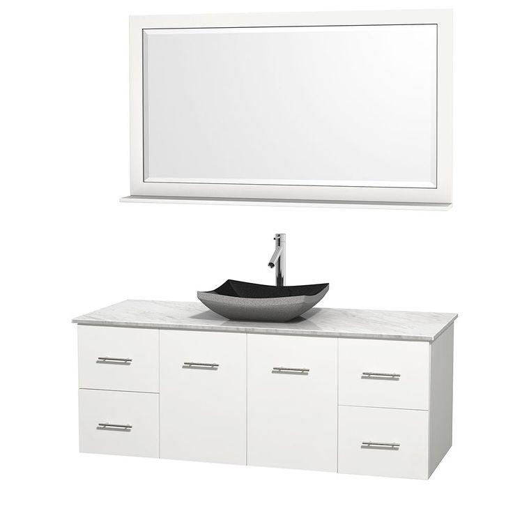 wyndham collection centra 60inch single bathroom vanity in white w mirror