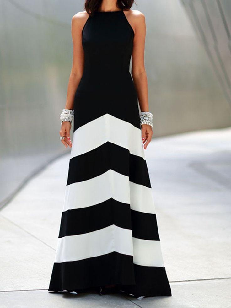Black Stripe Sleeveless Maxi Dress