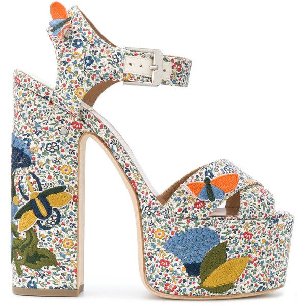 Laurence Dacade Rush Bagatelle platform sandals (€900) ❤ liked on Polyvore featuring shoes, sandals, multicolour, chunky platform sandals, leather platform sandals, multi coloured sandals, high heels sandals and ankle wrap sandals