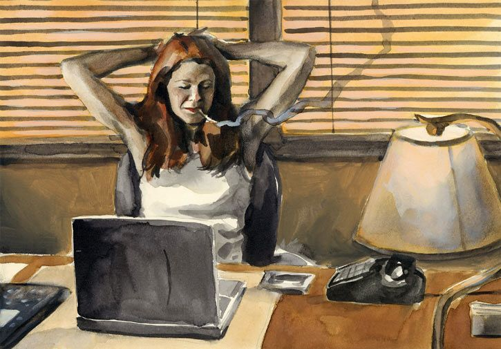 #JessicaJones working in her office, painted art. From http://www.writeups.org/jessica-jones-alias-marvel-comics-bendis/