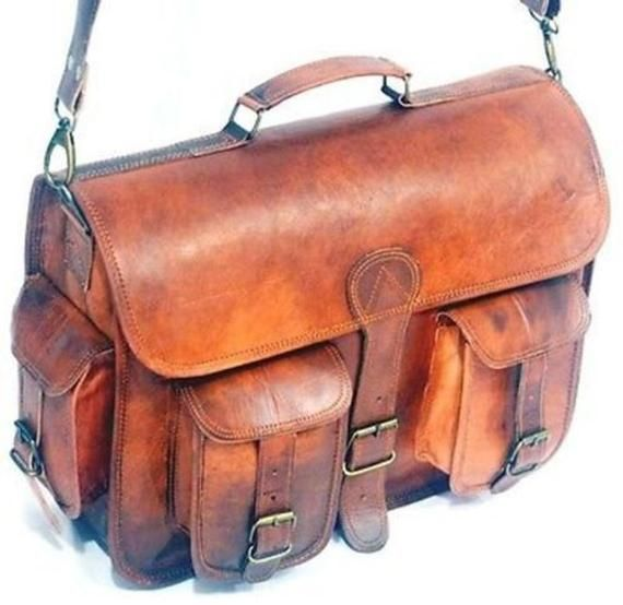"15/""Men/'s Genuine Leather Vintage Laptop Messenger Handmade Briefcase Bag Satchel"