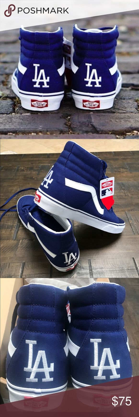 NWB  LA DODGERS SK8 Hi Vans Size 12 MENS NEW WITH ORIGINAL BOX  ONE PAIR AVAILABLE. LOS ANGELES SK8 HI VANS. YOU DONT NEED TO BE A DODGER FAN TO REP THESE. MENS SIZE 12.  PRICED FIRM NO OFFERS PLEASE.   Ships same or next day. Smoke free home.   100% AUTHENTIC. AS PER USUAL.  Vans Shoes Sneakers