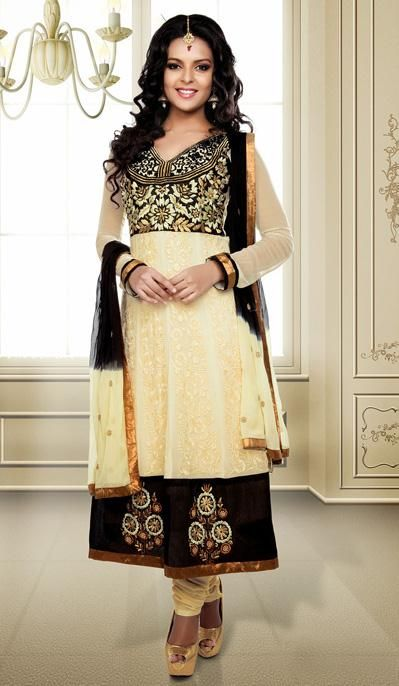 USD 48.74 Cream Embroidery Faux Georgette Salwar Kameez 31151