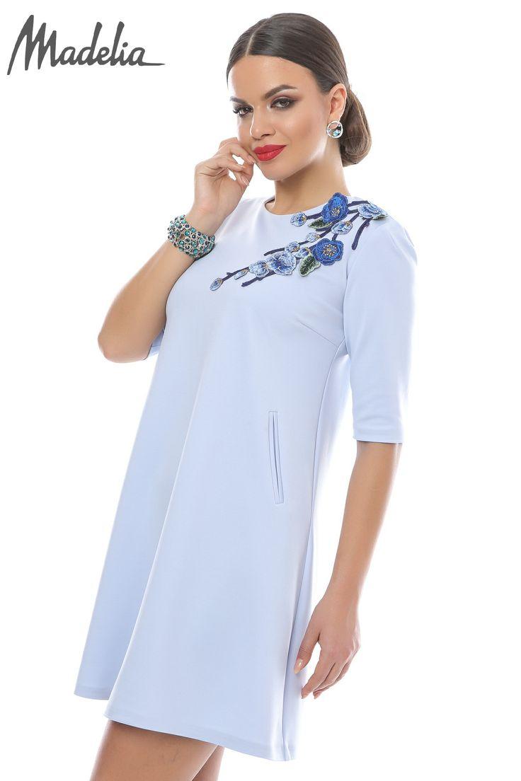 Rochie scurta bleu ciel   Madelia Fashion - Magazin online haine și rochii de damă