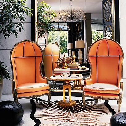How About These Fab Orange Porter Chairs In This Ultra Glam Living Room! I  Think This Is One Of Kelly Wearstleru0027s Designs, Maybe From Her Book  Domicilum ...