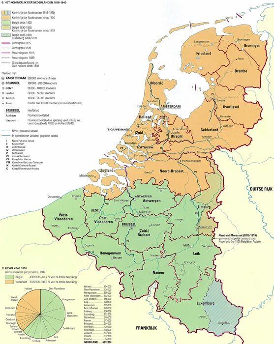 Kaart: Koninkrijk der Nederlanden 1815-1840