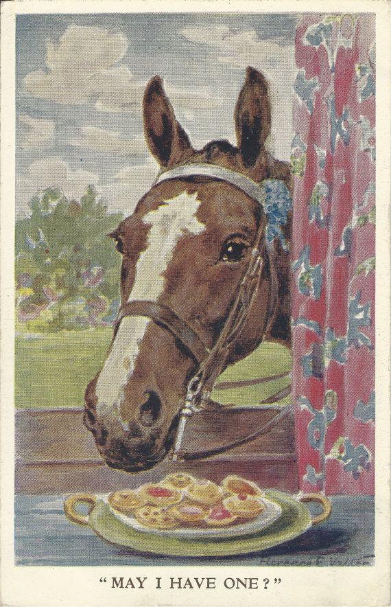 Vintage Horse Valentine | ... You May - Vintage 1930s Florence Valter Artist Signed Horse Postcard