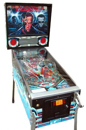 This one is awesome, it has a gun that shoots the ball across the playfield Terminator 2 pinball machine
