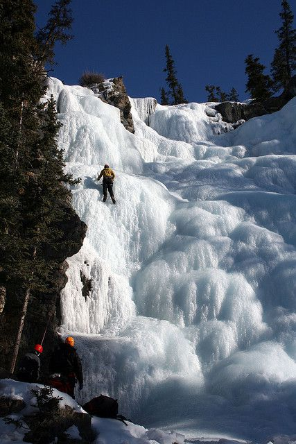 by Chris and Heather Fox on Flickr.  Climbing on frozen Tangle Falls - Jasper, Alberta, Canada.