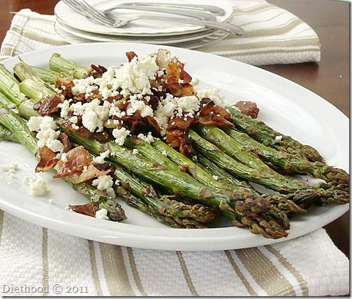 Roasted Asparagus with Bacon and Feta Cheese - Ready in 10 minutes!!