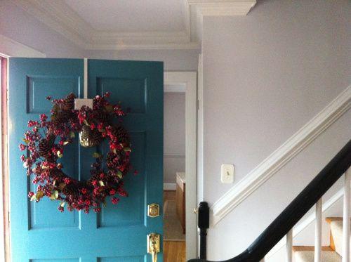Front Door, Hallway, Farrow & Ball Blackened in the hall, Farrow & Ball Elephant's Breath in the Dining Room