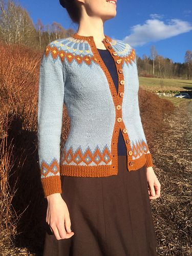 A topdown circular yoked cardigan. The pattern is based on a vintage norwegian knitting pattern, probably from the 40s. Sizes S-XXL. It can be knitted with 4 or 2 colours. 4 colours is the grey and 2 colours is the brown mentioned in these notes.