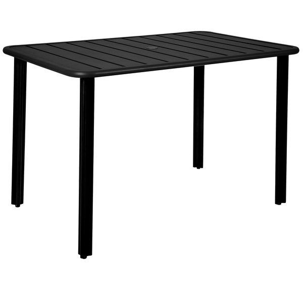 Bfm Seating Dvv3248blu Vista 32 X 48 Rectangular Black Aluminum Outdoor Indoor Standard Height Table With Umbrella Hole In 2020 Patio Dining Table Outdoor Patio Table Patio Dining