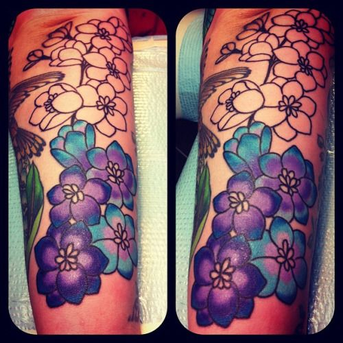 Larkspur tattoo July birth flower | Tattoos | Pinterest