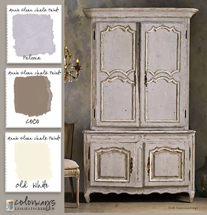 French Armoire.   Paloma as your first coat and dominant color. Add shadows and wear with Coco and highlights with Old White. Wax and  gently distress for an authentic rich patina.