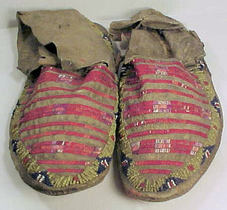 Antique Native American Sioux Porcupine Quill Beaded Moccasins |