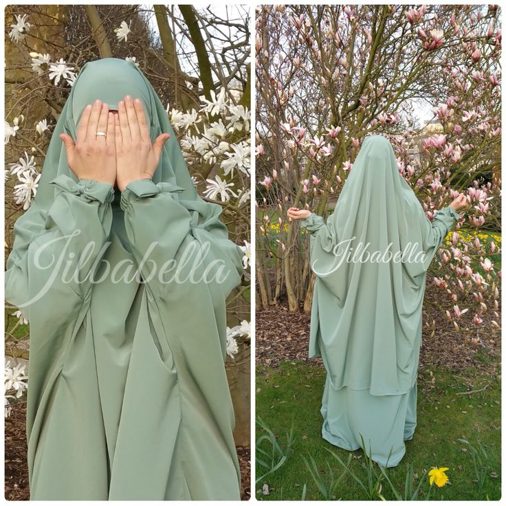 Lovley minty Jilbab with bows from Umm Designs - presented by Jilbabella