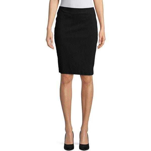 Lord & Taylor Women's Petite Timeless Pencil Skirt ($32) ❤ liked on Polyvore featuring skirts, black, petite pencil skirt, slit skirt, petite skirts, pencil skirts and knee length pencil skirt