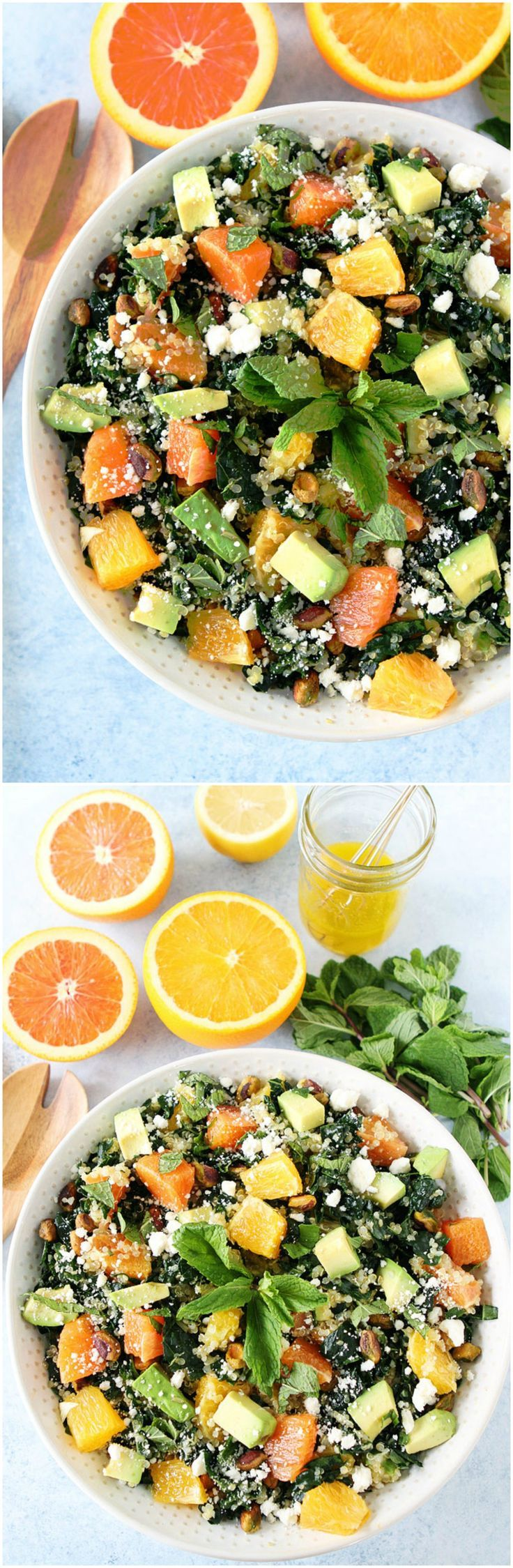 Orange, Avocado, and Kale Quinoa Salad Recipe on twopeasandtheirpod.com This healthy and refreshing salad is full of flavor! You will love the burst of citrus!