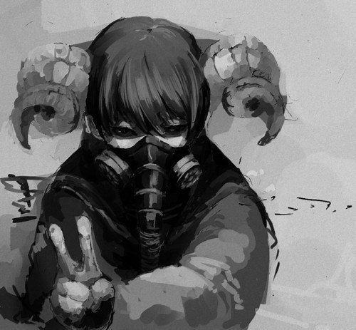 Demon gas mask horned girl v p pinterest posts the - Anime girl with gas mask ...