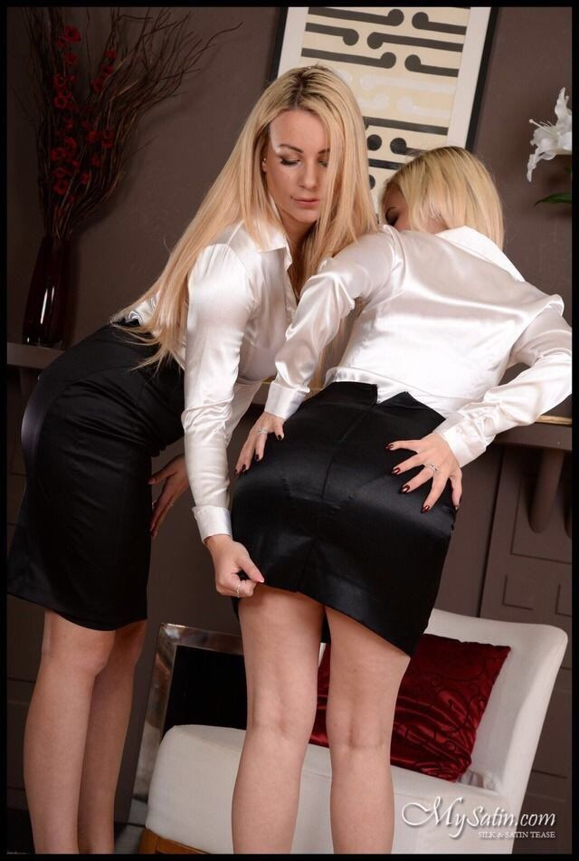 Pin On Pencil Skirt And Satin Blouse