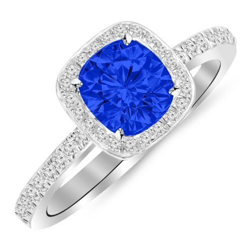 1.3 Carat 14K White Gold Classic Halo Style Cushion Shape Diamond Engagement Ring 14K White Gold with a 1 Carat Cushion Cut AAA Quality Blue Sapphire (Heirloom Quality) Houston Diamond District http://www.amazon.com/dp/B00JI3QEZU/ref=cm_sw_r_pi_dp_T185tb19G4KQJ