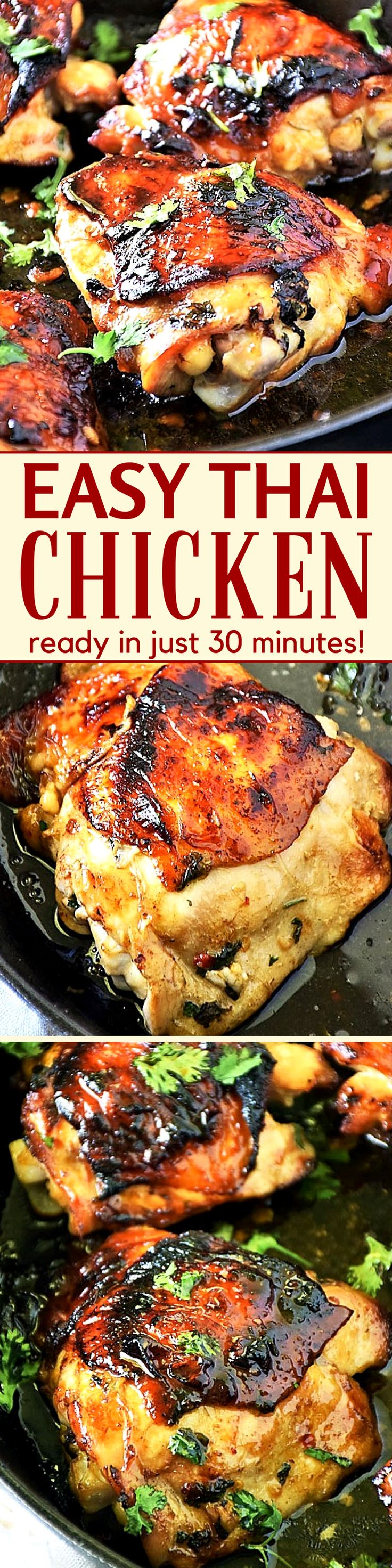 My Easy Thai Chicken thigh recipe is the answer to your dinner dilemma! Baked and on the table in just 30 minutes, this easy chicken recipe is loaded with fresh ingredients to maximize flavor! Add it to your family meal plan this week! #LTGrecipes #ChickenRecipes #ThaiChicken #EasyRecipe #DinnerRecipe