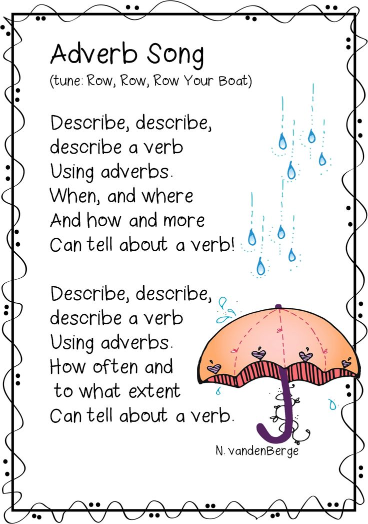 """Adverb Song from Unit, """"Adverb Adventure"""" (free; from First Grade Wow)"""