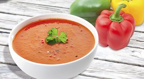 PEPPRIKA 1 Soup = 262 Kcal  Ingredients: 1 bag of COMPLETE VEGETABLE SOUP 300 ml skimmed milk (0,1 %) 1 small pepper (150 g) 1-2 tablespoons of fresh parsley (chopped) 1-2 teaspoons of sweet paprika powder 1 pinch of chili Pepper to taste  Preparation: Cut the pepper into pieces and cook it in the milk. Put part of the cut pepper aside. Puree the rest of the pepper together with the milk. Stir in 1 bag of Vegetable Soup, add remaining pepper pieces and parsley. Add paprika to taste. Add chil