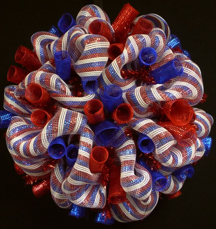 ORDER THIS WREATH TODAY AND IT SHIPS TOMORROW!  Super Cute and bursting with color--this wreath will look beautiful on your front door for any RWB