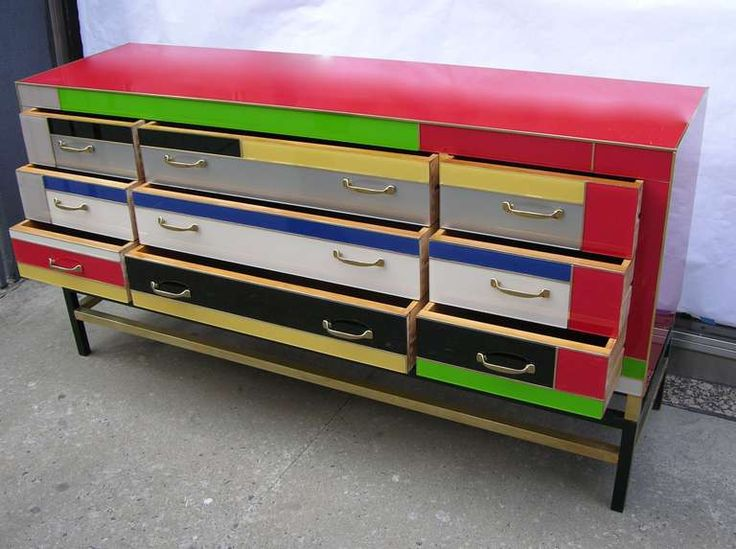 View This Item And Discover Similar Sideboards For Sale At   Italian  Sideboard With 9 Drawers, Decorated With An Interesting And Fun  Asymmetrical Pattern ...