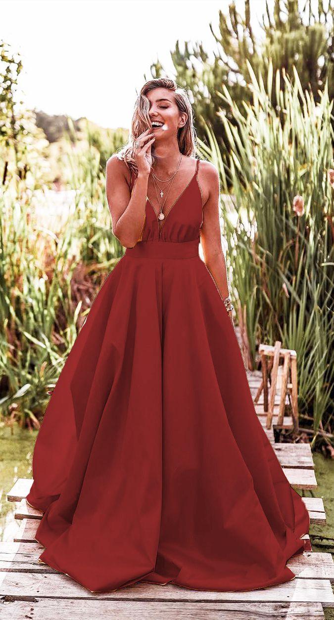 748dd334b fashion dark red prom dresses, chic spaghetti straps long prom dresses,  cheap a line junior prom dresses for girls, formal senior prom dresses  #dressywomen ...