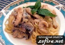 Паста с курицей и грибами под сливочным соусом - вкусный и простой рецепт горячего