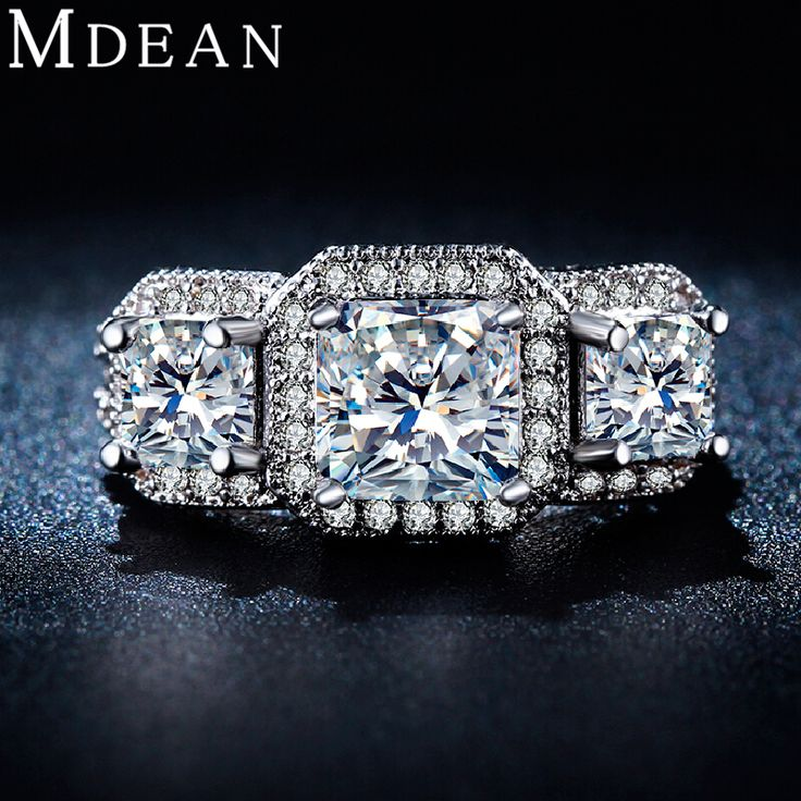 MDEAN White Gold plated Rings For Women women Wedding rings Jewelry Bijoux ring vintage Accessories Engagement ring Bague MSR170