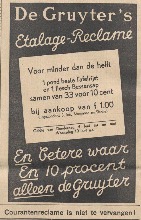 de Gruyter - advertentie, Nieuwsblad van Friesland Hepkema's courant 1936