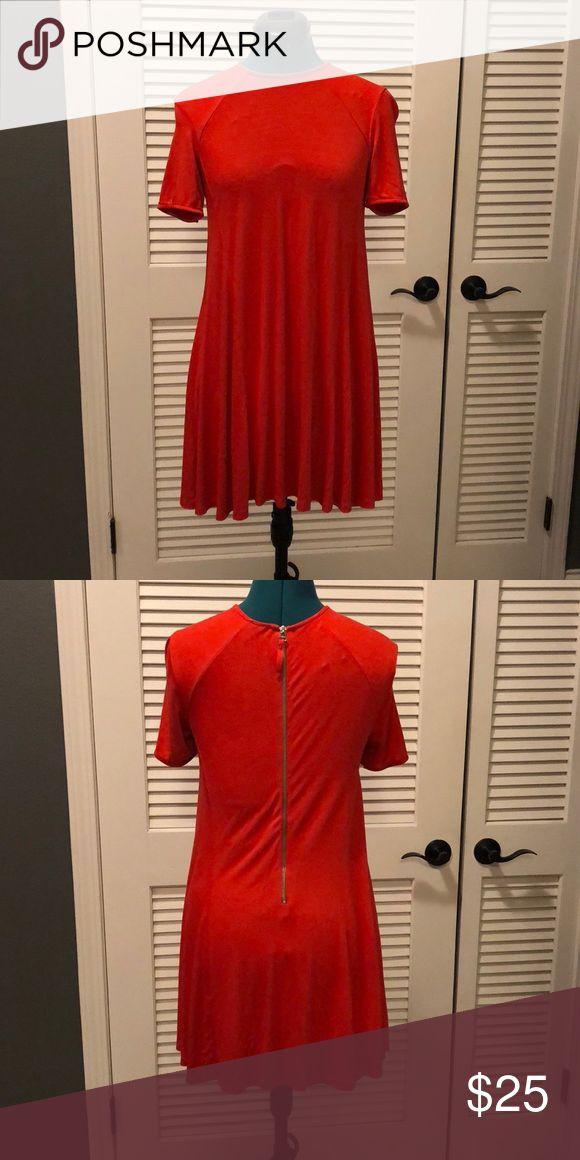 Zara- Mini Trapeze Dress Red Trapeze Dress w/ Gold back zipper Zara Dresses Mini