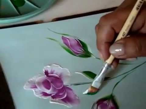One Stroke Roses And Leaves-One Stroke Technique - YouTube