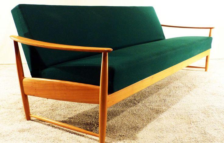 Sofa 3-Sitzer Daybed 60er Klapp-Liege Jalk Vodder danish design teak easy chair in Antiquitäten & Kunst, Design & Stil, 1960-1969 | eBay
