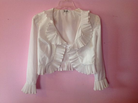 70s white blouse top jacket ruffled collar by chachachic on Etsy, $78.00