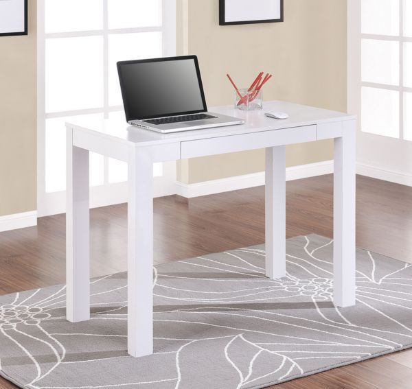Small Writing Desk Drawer Wood White Spaces Laptop Computer Office NEW #Altra #Contemporary