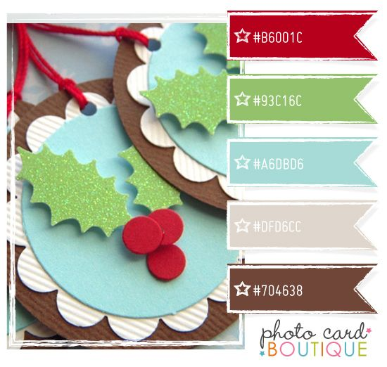 Christmas colors with Aqua & Brown added by Photo Card Boutique